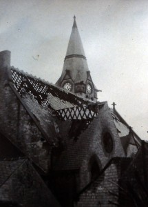 Photo showing the aftermath of a fire which destroyed a large part of the roof.